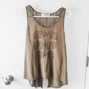 Olive Green Elephant Open-Back Tank Top